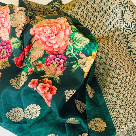 Shades of Green Floral Printed Banarsi Dupatta