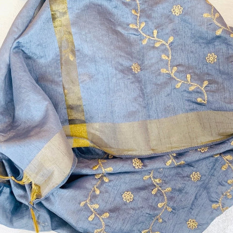 Stone Gray Floral Zari Trails Silk Dupatta