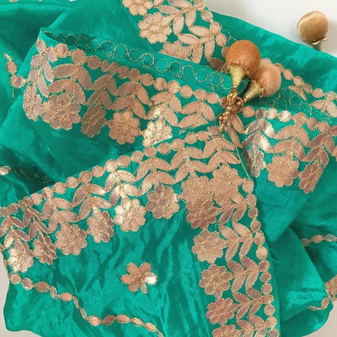 Teal Green Gotta Floral Embroidered Silk Dupatta