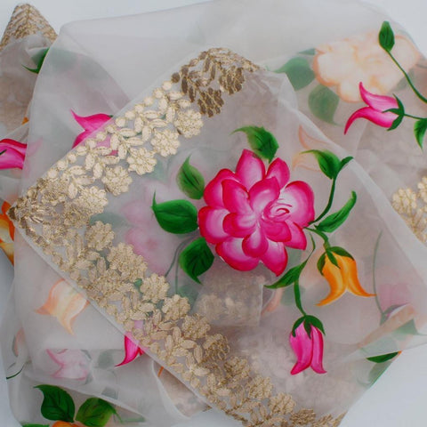 White Floral Hand Painted Organza Gotta Embroidered Dupatta