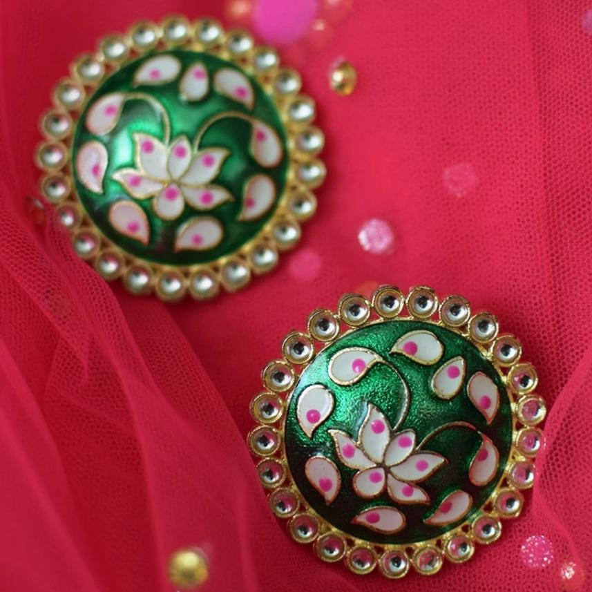 anokherang Jewelry Basil Green Floral Hand Painted Studs