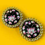 Ebony Floral Hand Painted Studs