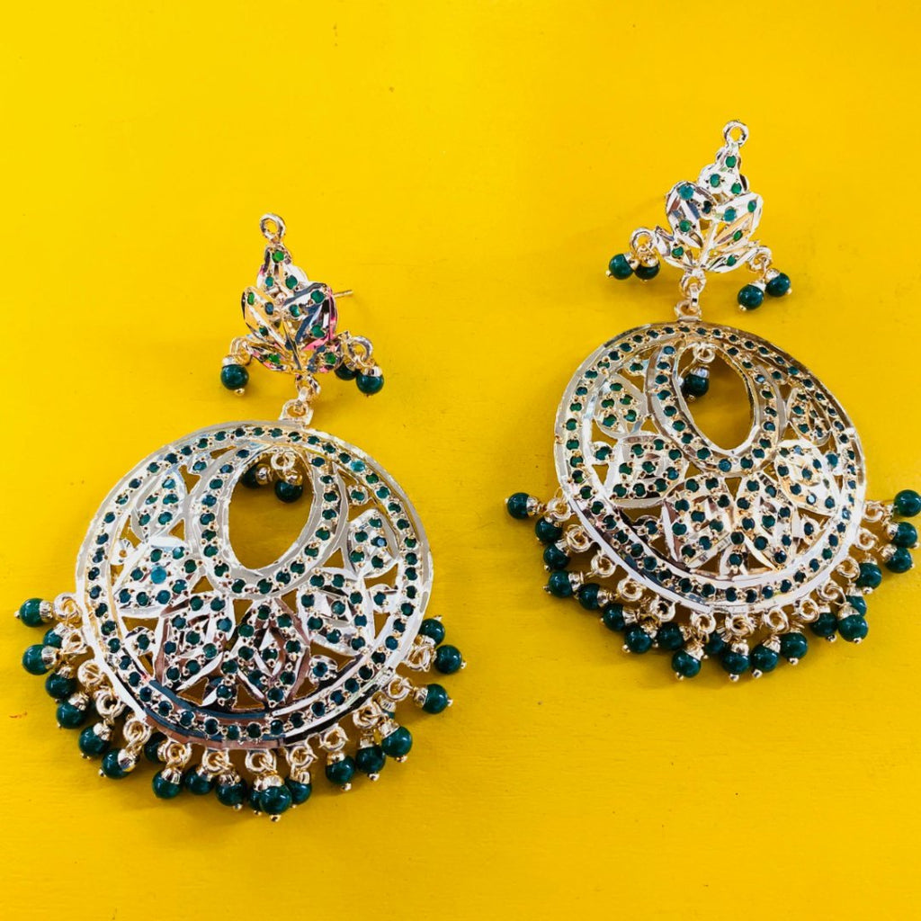 anokherang Jewelry Gold and Green Jadau Chandbalis