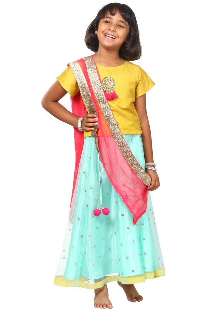 anokherang Kids Dress Lime Green Blue Sequenced Lehenga Choli with Net Sequenced Dupatta