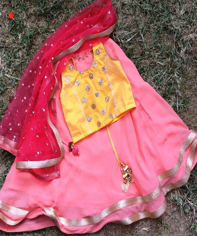 anokherang Kids Dress The Peach Mango Lehenga with Silk Choli and Net Dupatta