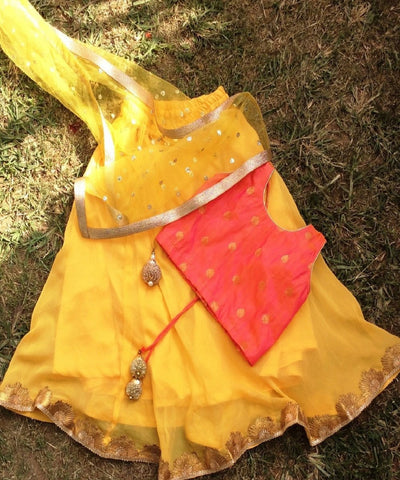 anokherang Kids Dress The Strawberry Mango Lehenga with Silk Choli and Net Dupatta