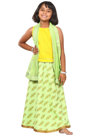 Yellow Green Printed Lehenga Choli Dupatta