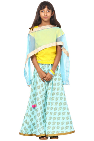 Yellow Sky Blue Printed Lehenga Choli with Net Dupatta