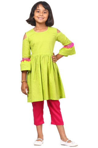 Green Pink Ruffled Cold Shoulder Kurta with Pants