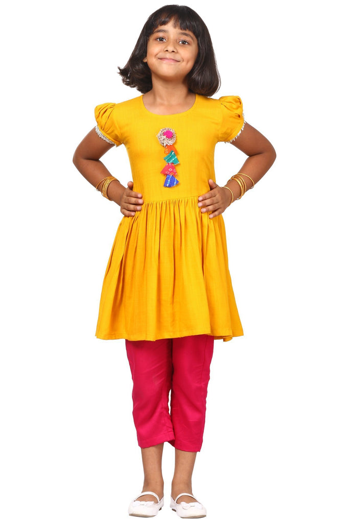 anokherang Kids Suits Mustard Gotta Gathered Kurta with Pants