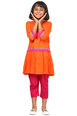 Orange Pink Pleated Kurti with Pants
