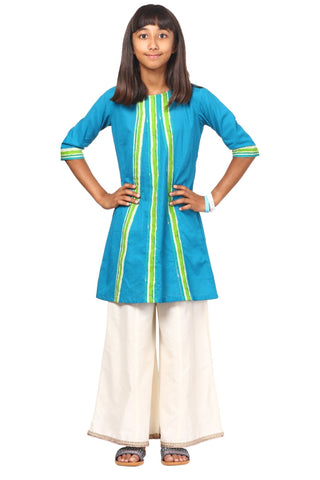 Shaded Green Kurti with Flared Palazzo