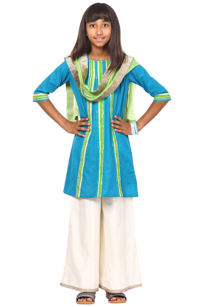 anokherang Kids Suits Shaded Green Kurti with Flared Palazzo and Net Dupatta