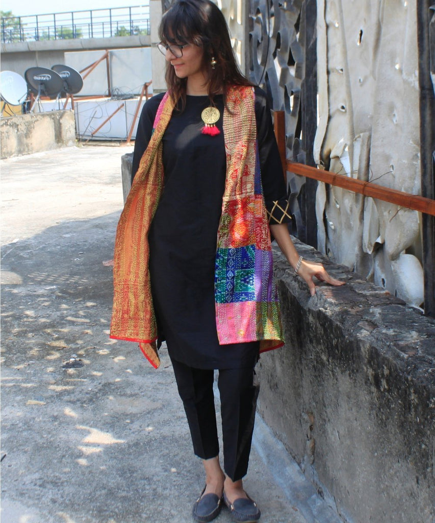 anokherang Kurtis Black Beauty Kurti with Kantha Reversible Jacket