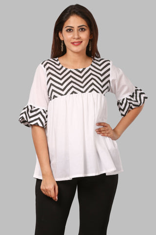 Black Zig-Zag Yoke Top