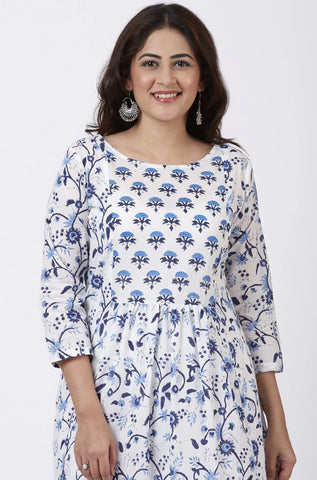 Blue Fiza Floral Printed Gathered Kurti