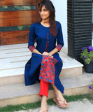 anokherang Kurtis Blue Front Printed Pleat Kurti with Buttons