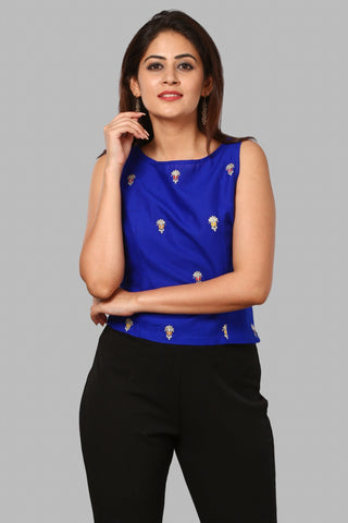 Blue Silver Embroidered Sleeveless Top