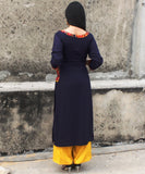 anokherang Kurtis Blue Spring Straight Kurti with Pockets