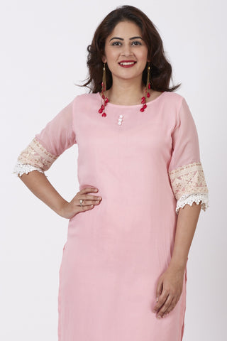 Blush Pink Georgette Crochet Straight Kurti