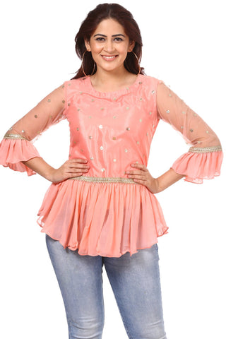 Blush Pink Sequenced Gathered Fairytale Top