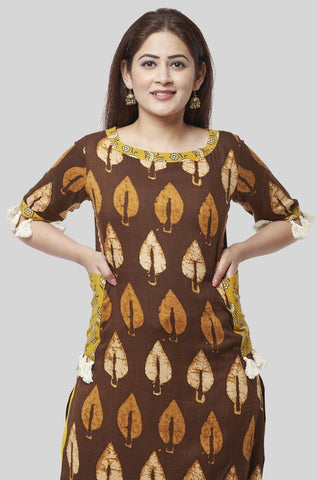 Coffee Brown Ruffled Pocket Kurti