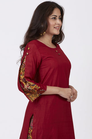 Crimson Red Pleated Sleeve Kurti