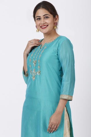 Cyan Gotta Embroidered Kurti