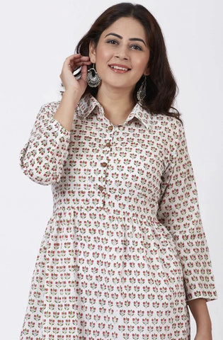 Floral Printed Gathered Collared Kurti