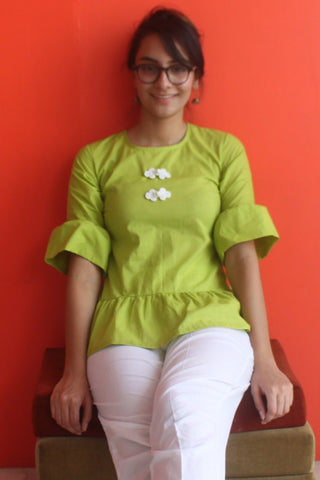 Freedom Green Gathered Top