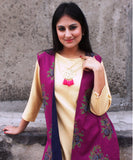 Golden Grace Straight Kurti with Purple Reversible Jacket