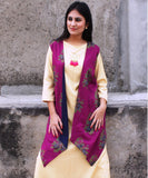 anokherang Kurtis Golden Grace Straight Kurti with Purple Reversible Jacket