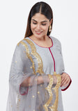 Gray Straight Short Kurti with Gray Scalloped Border Dupatta