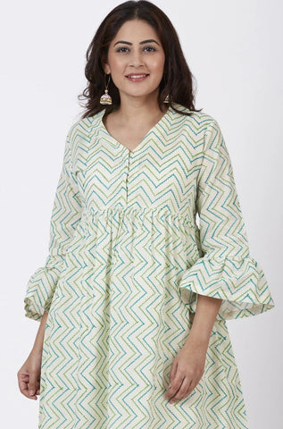 Greens Printed Fit n Flare Kurti