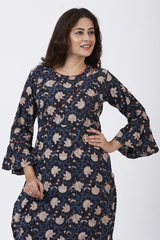 Hand Block Blue Floral Printed Ruffled Sleeve Kurti