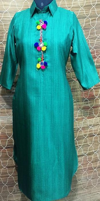 anokherang Kurtis Haryali Sheesha Pathani Collared Silk Kurti