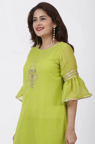 Lime Green Georgette Gotta Embroidered Kurti