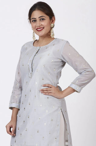 Magical Gray Foil Printed Kurti