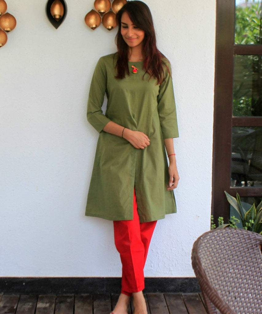 anokherang Kurtis Mehendi Green Knee Length Kurti with Front Slit