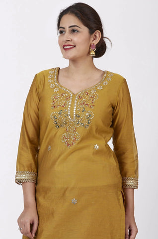 Mellow Mustard Gotta Patti Embroidered Kurti