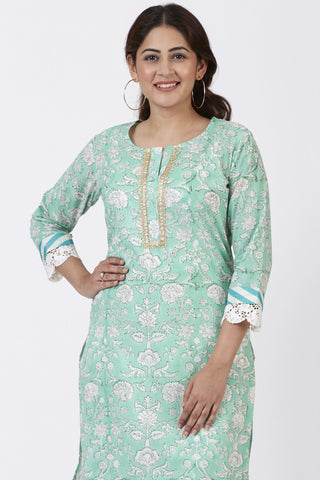 Mint Green Floral Leheriya Crochet Kurti
