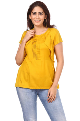 Mustard Rayon Front Pleat Ruffled Top