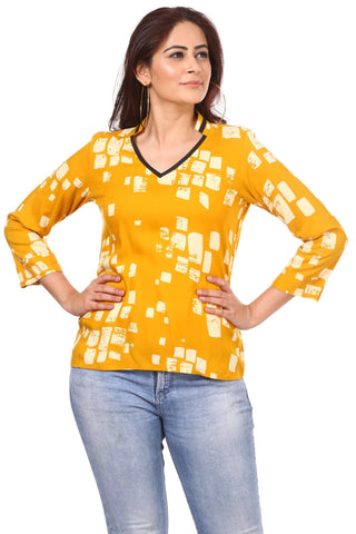 Mustard White Geometrical Top