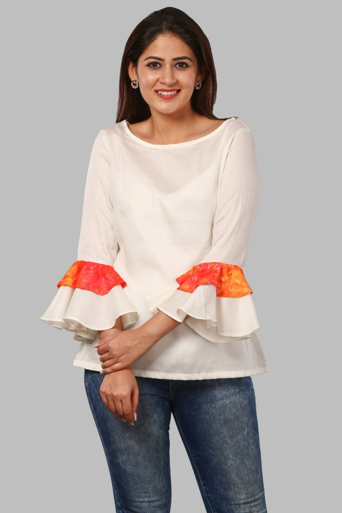 af7a2fd1d9d anokherang | Off-White Double Ruffle Sleeves Top | Ethnic Fashion in ...