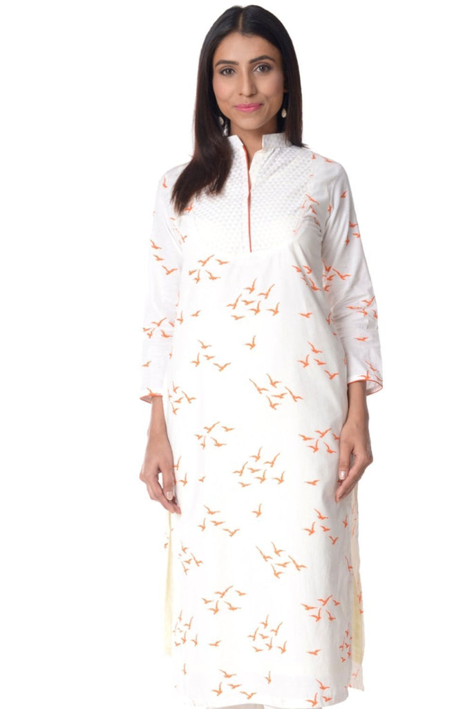 anokherang Kurtis Orange Birds Straight Kurti