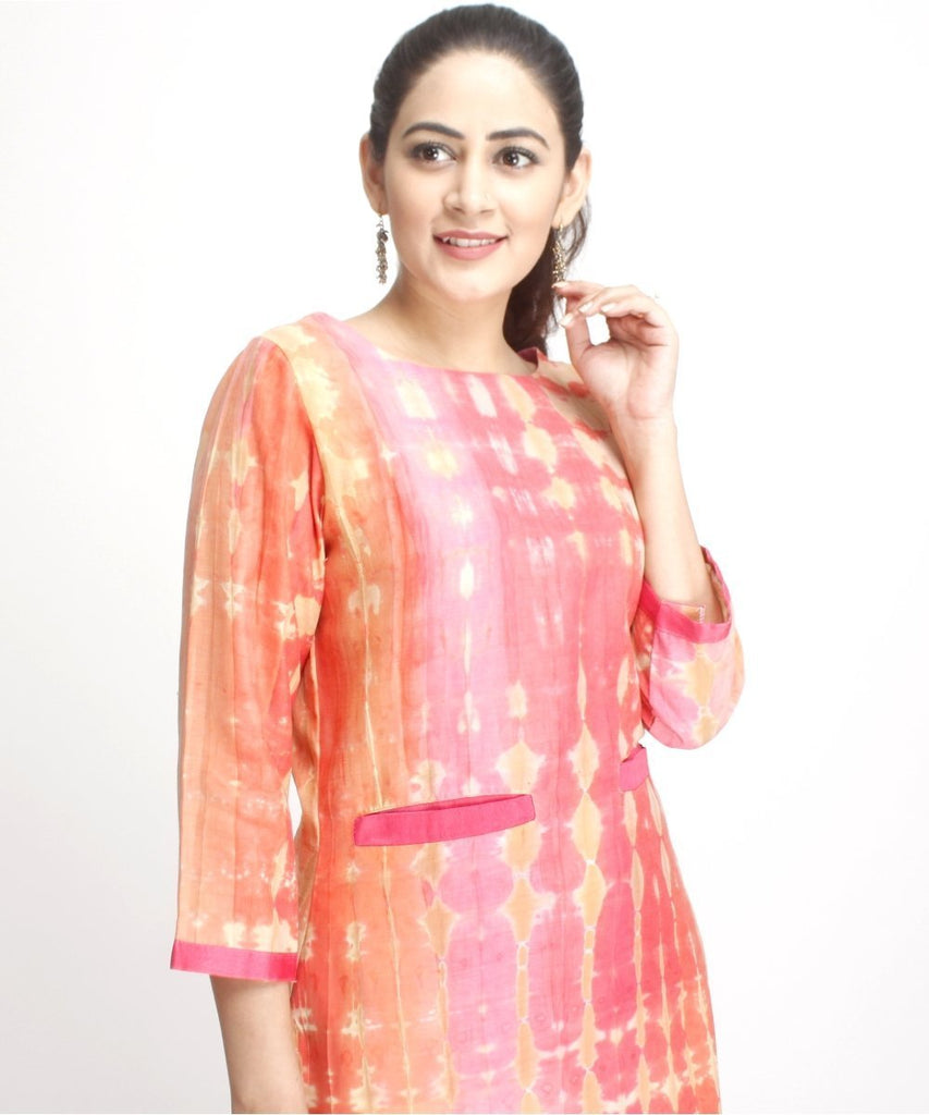 anokherang Kurtis Peach Straight Kurti with Pockets