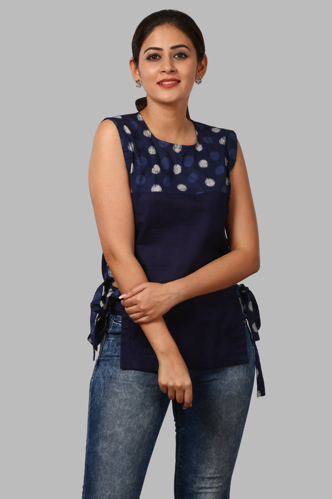 816cff92c56 anokherang | Polka Dot Straight Cut Blue Top | Ethnic Fashion in all ...