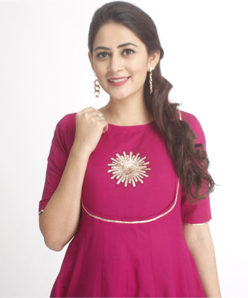 anokherang Kurtis Purple Flower Anarkali
