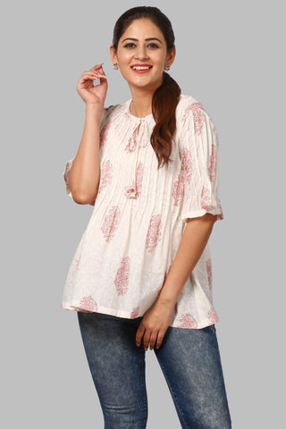 Red Motif Print Pleated Top