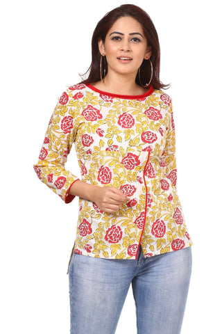 Red Yellow Floral Affair Top